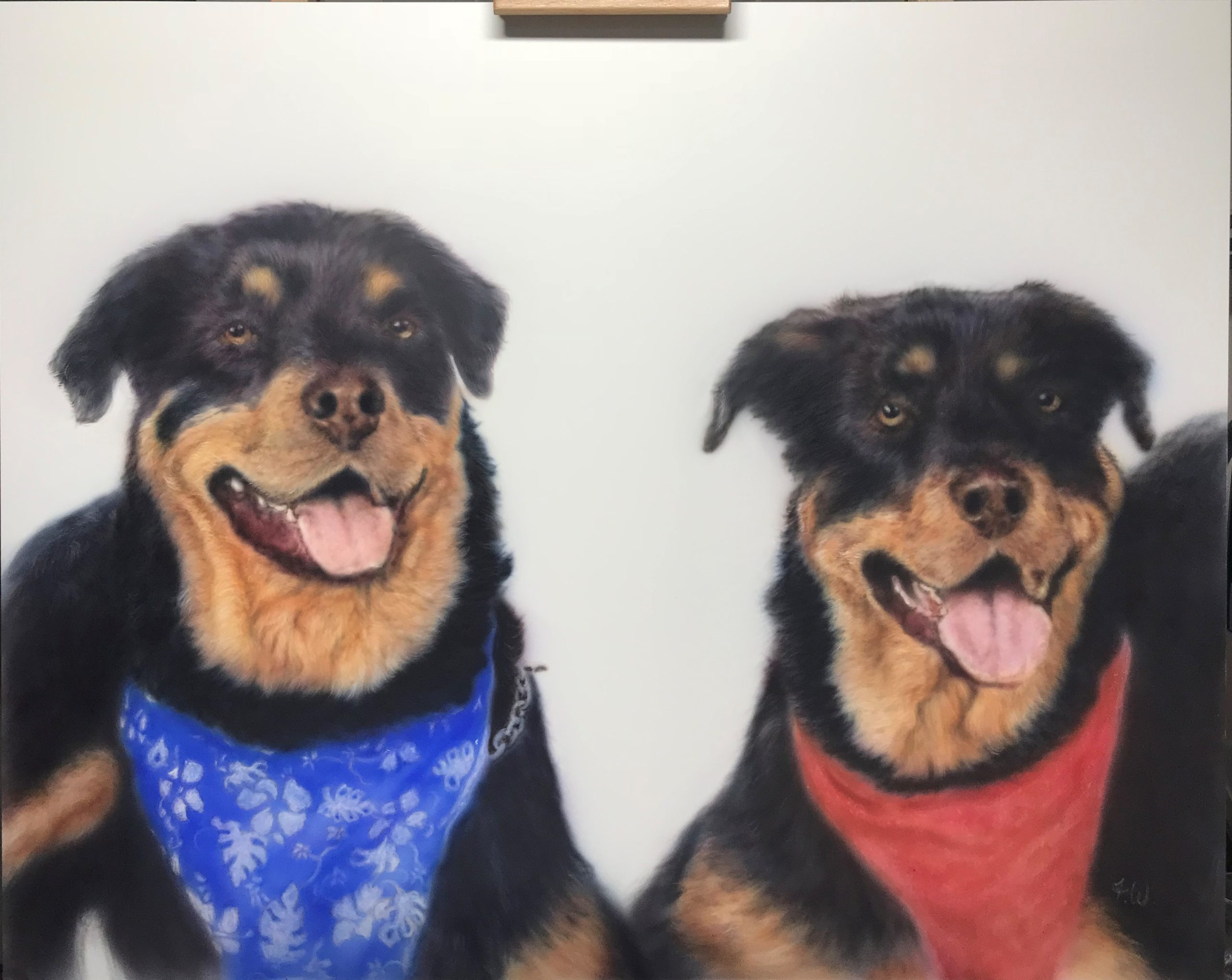 Actual Aritist's Painting of Mike Harris's Dogs